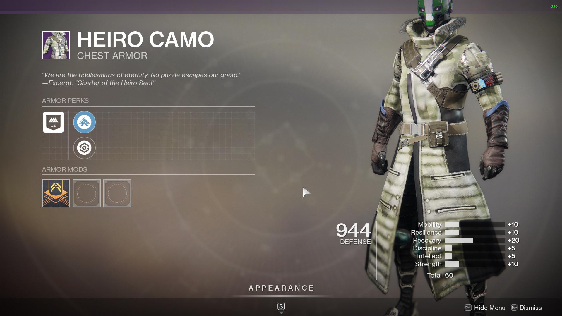 Destiny 2 Heiro Camo seasonal mod slot
