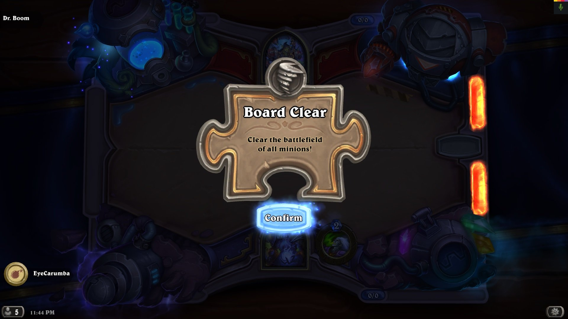 Hearthstone: The Boomsday Project - Dr  Boom Board Clear Puzzle Lab