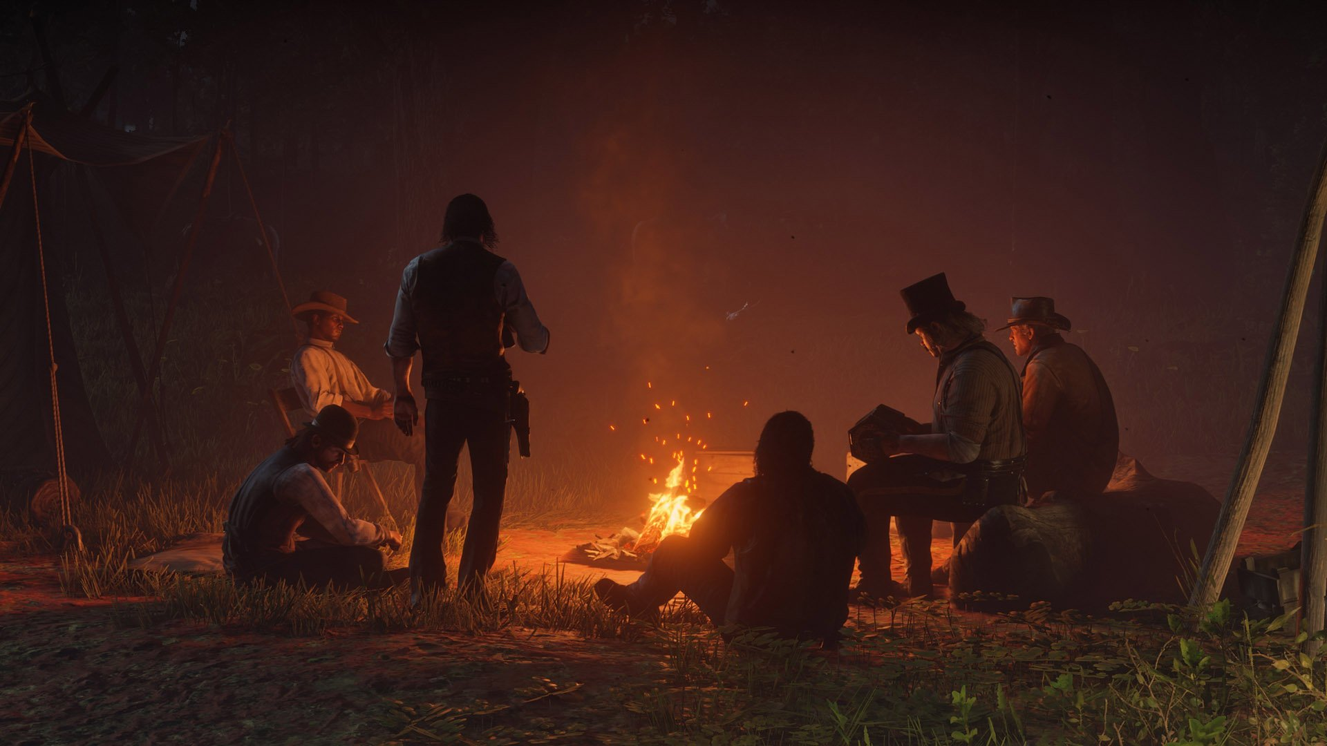 How to craft a camp and campfire in Red Dead Redemption 2