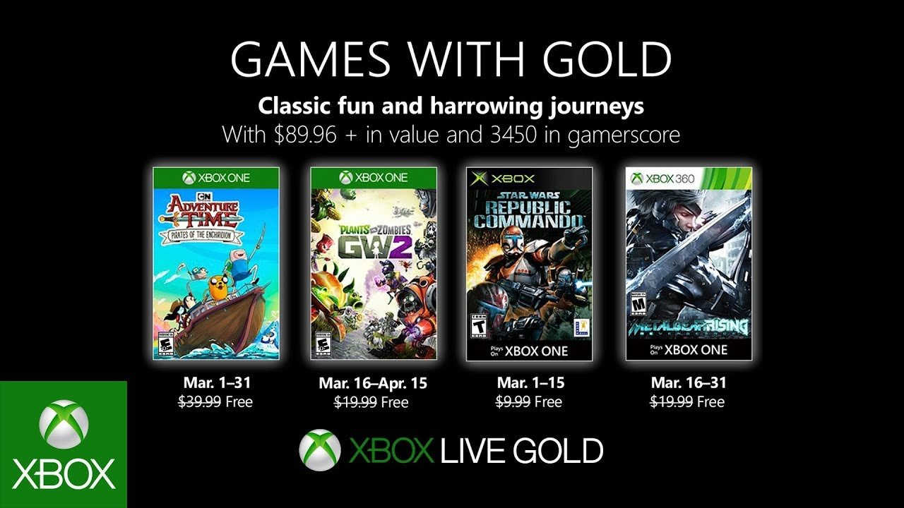 Free Xbox Games With Gold March 2019 include PvZ: GW2 & more