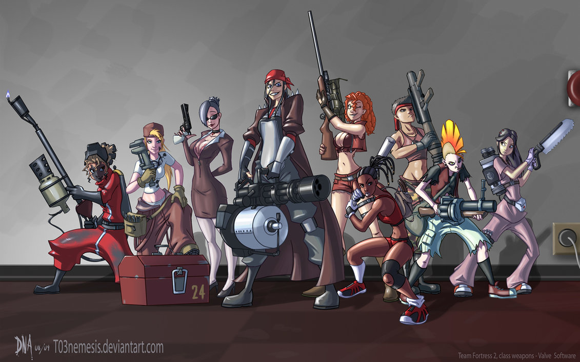 Team Fortress Fan Girls, by T03nemesis