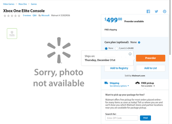 Xbox One Elite Console listed on Walmart   Shacknews