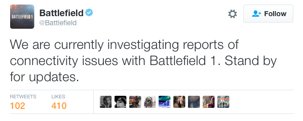 Battlefield 1 Servers Down    Again  [UPDATE: Likely DDOS