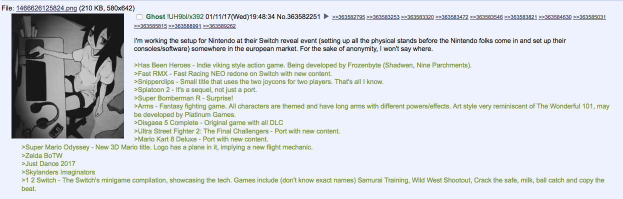 Rumor: Nintendo Switch European Titles Leaked on 4Chan