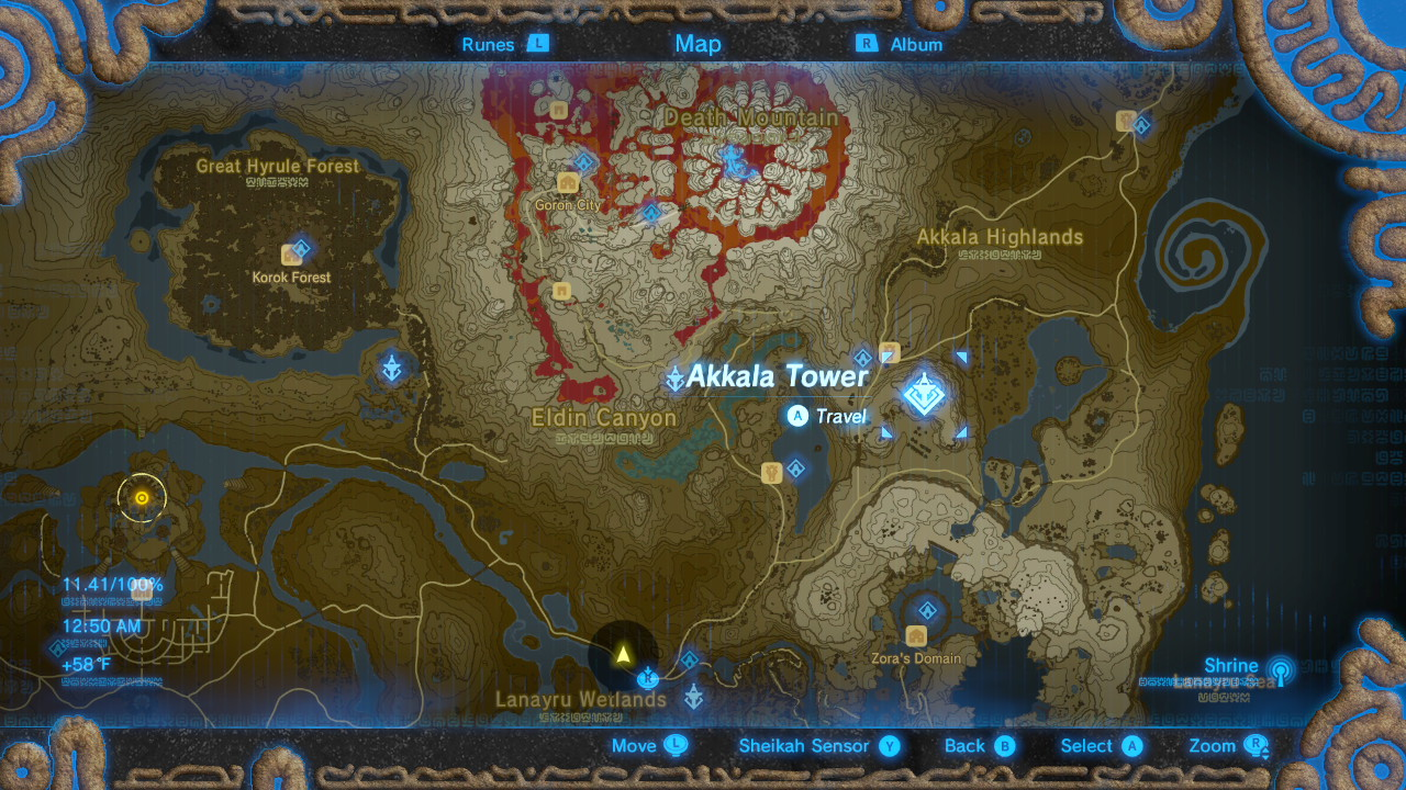 Breath of the Wild Sheikah Tower Locations Akkala