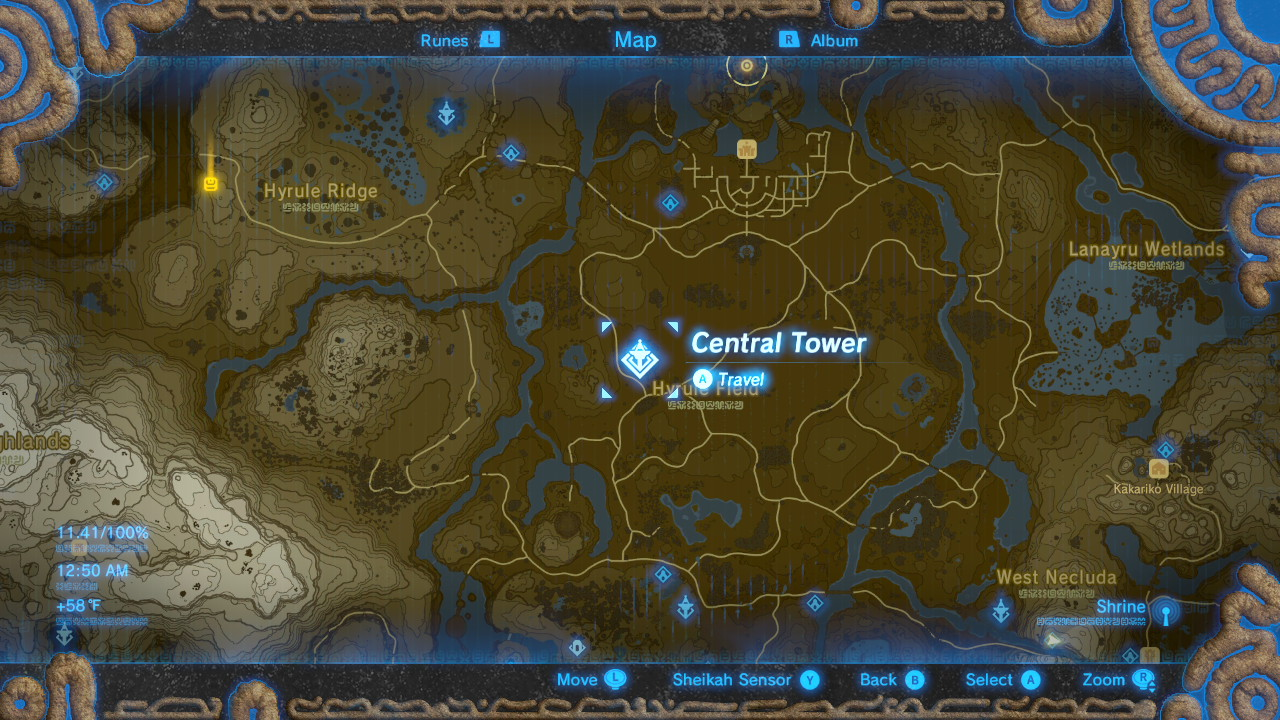 Breath of the Wild Sheikah Tower Locations Central