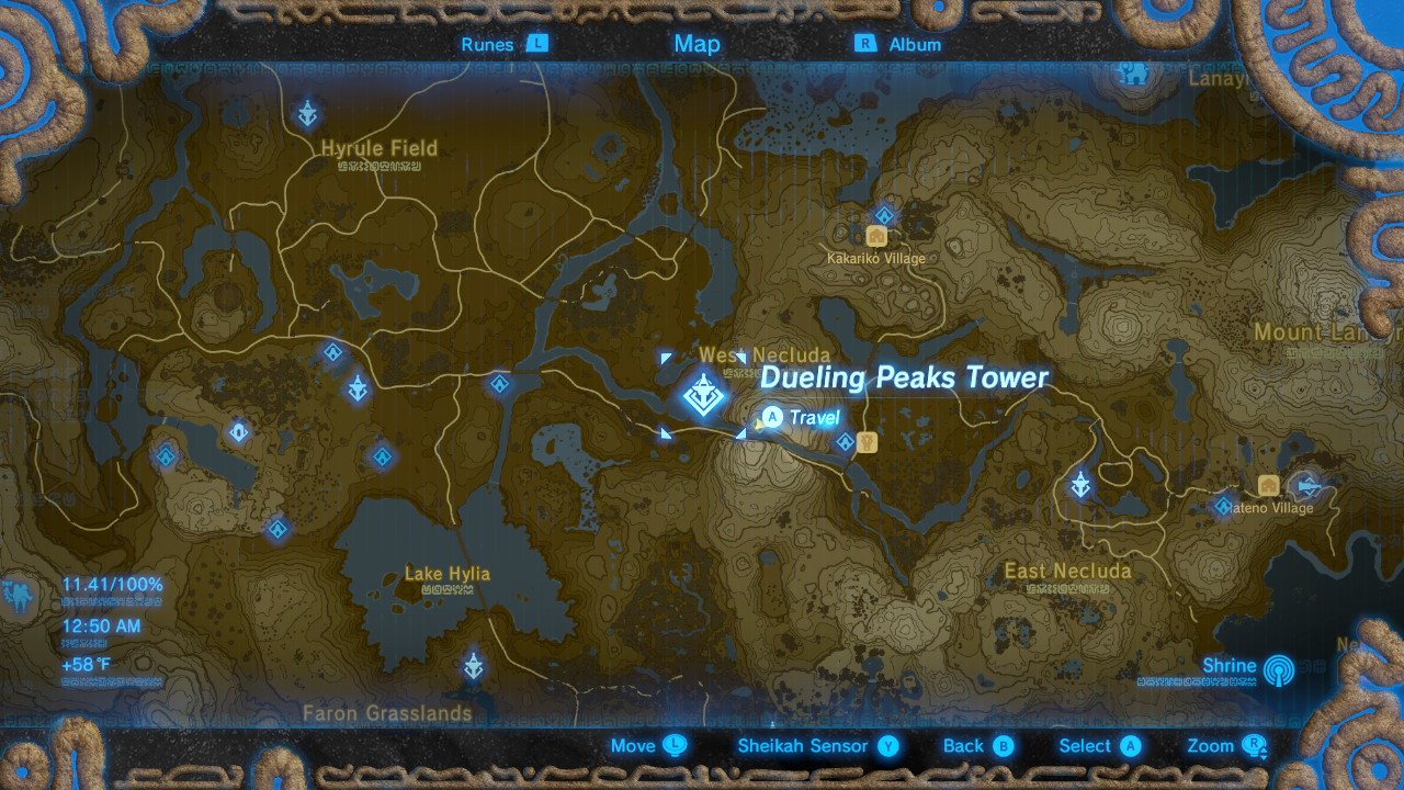 Breath of the Wild Sheikah Tower Locations Dueling Peaks