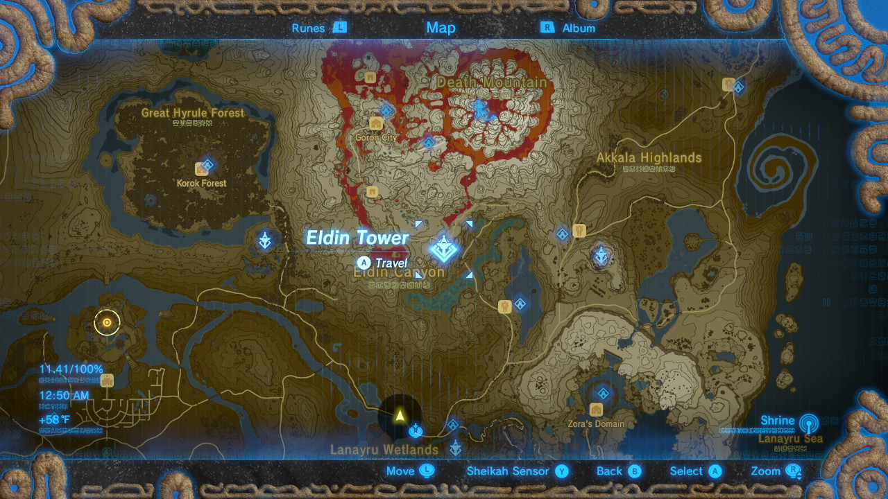 Breath of the Wild Sheikah Tower Locations Eldin