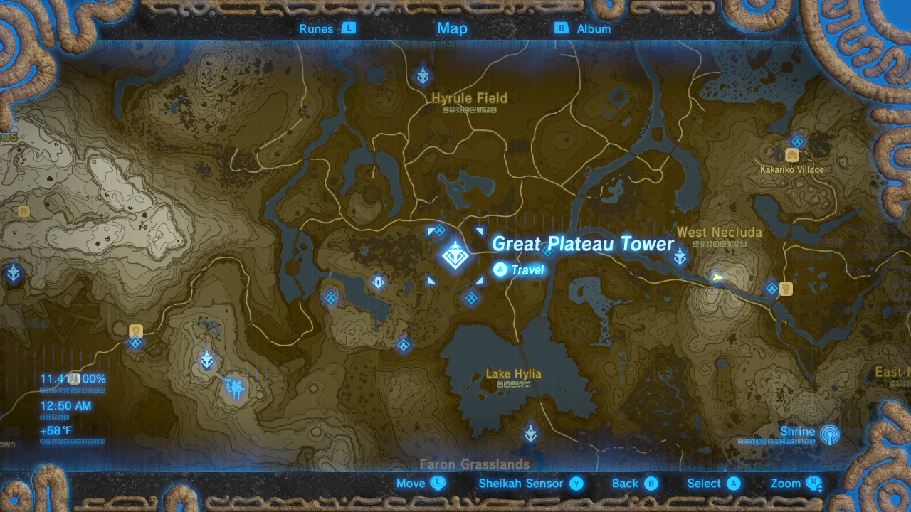Breath of the Wild Sheikah Tower Locations Great Plateau