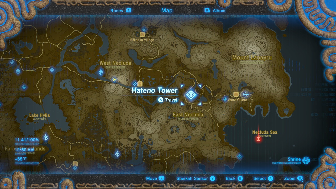 Breath of the Wild Sheikah Tower Locations Hateno
