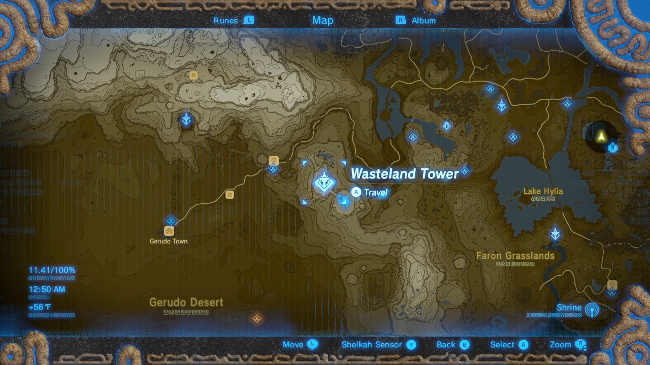 Breath of the Wild Sheikah Tower Locations Wastelands