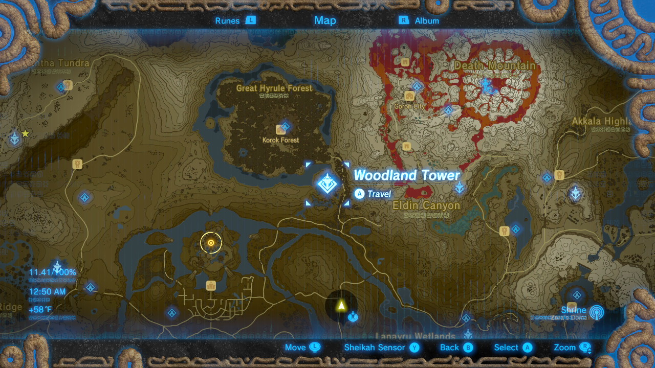 Breath of the Wild Sheikah Tower Locations Woodland