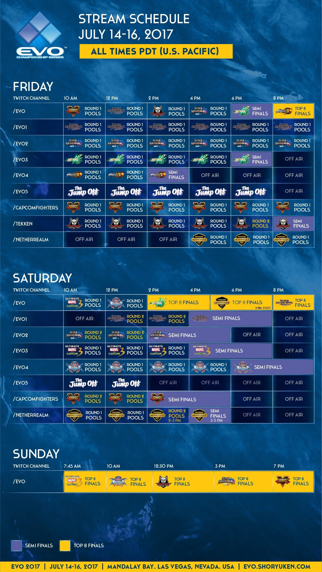 Full Evo 2017 Live Stream Schedule from Event Hubs.