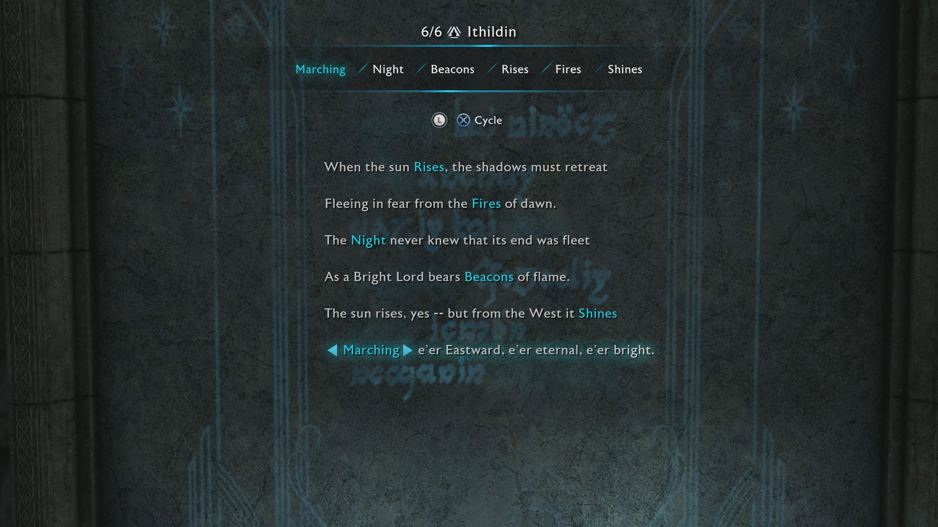 Cirith Ungol Ithildin Door Poem solution Middle-earth Shadow of War