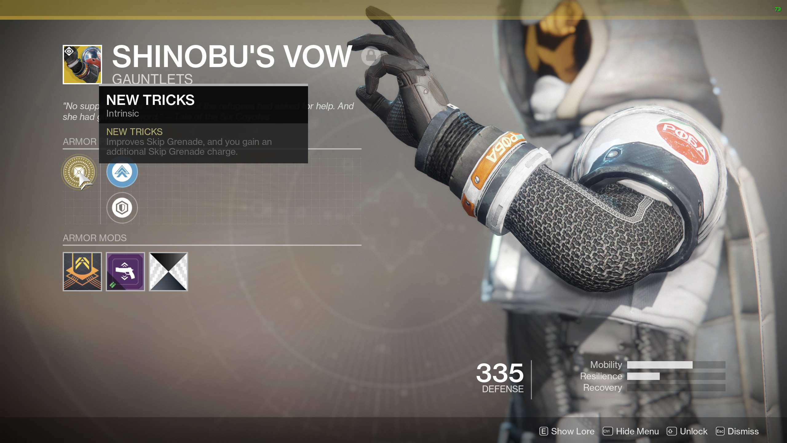 Shinobus Vow Exotic Hunter Gauntlets
