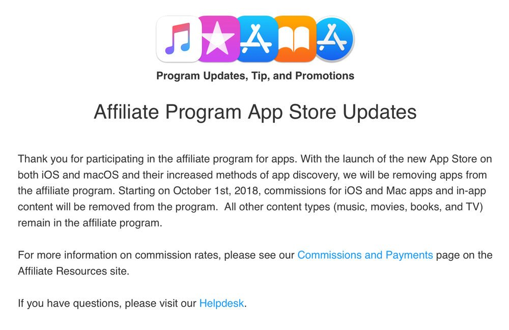 Apple to shut down the App Store affiliate program