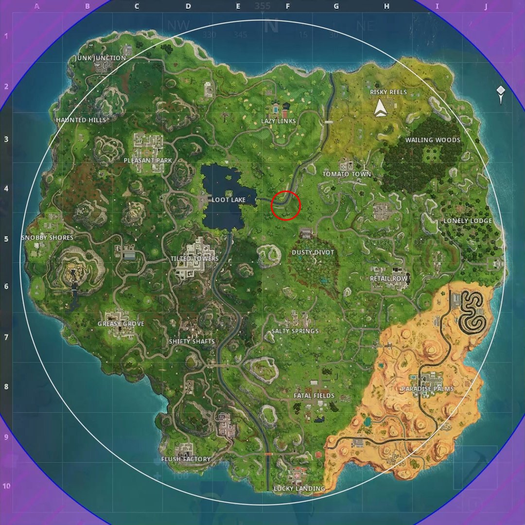 the treasure map points to a location north west of dusty divot at f4 head to that location and look for a group of three trees the search spot will be in - fortnite dusty depot treasure map