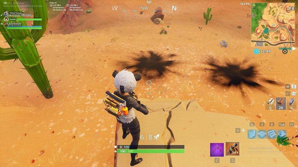 Cacti struck down by purple lightning bolts. Credit via reddit, FortniteBR