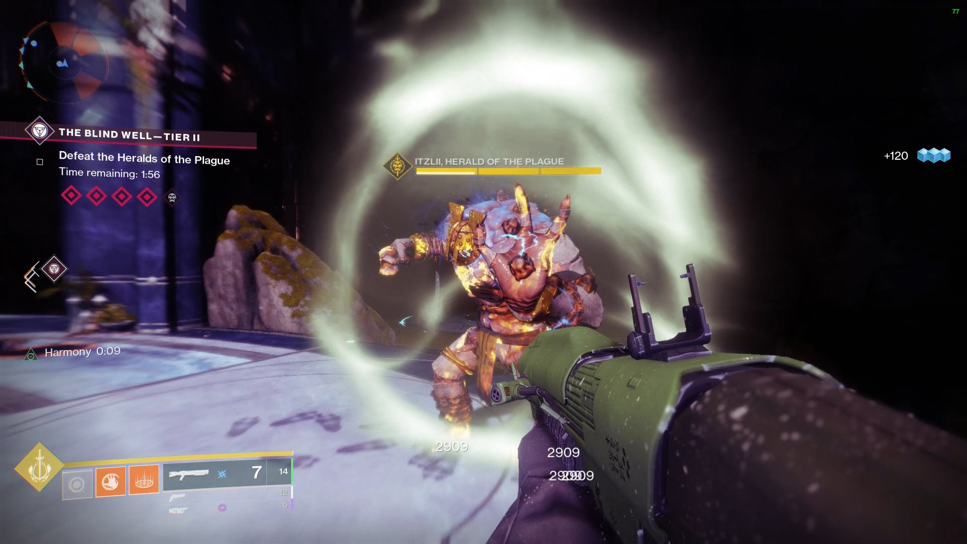 Use the Harmony buff to remove the shield from the boss, allowing all players to damage it.