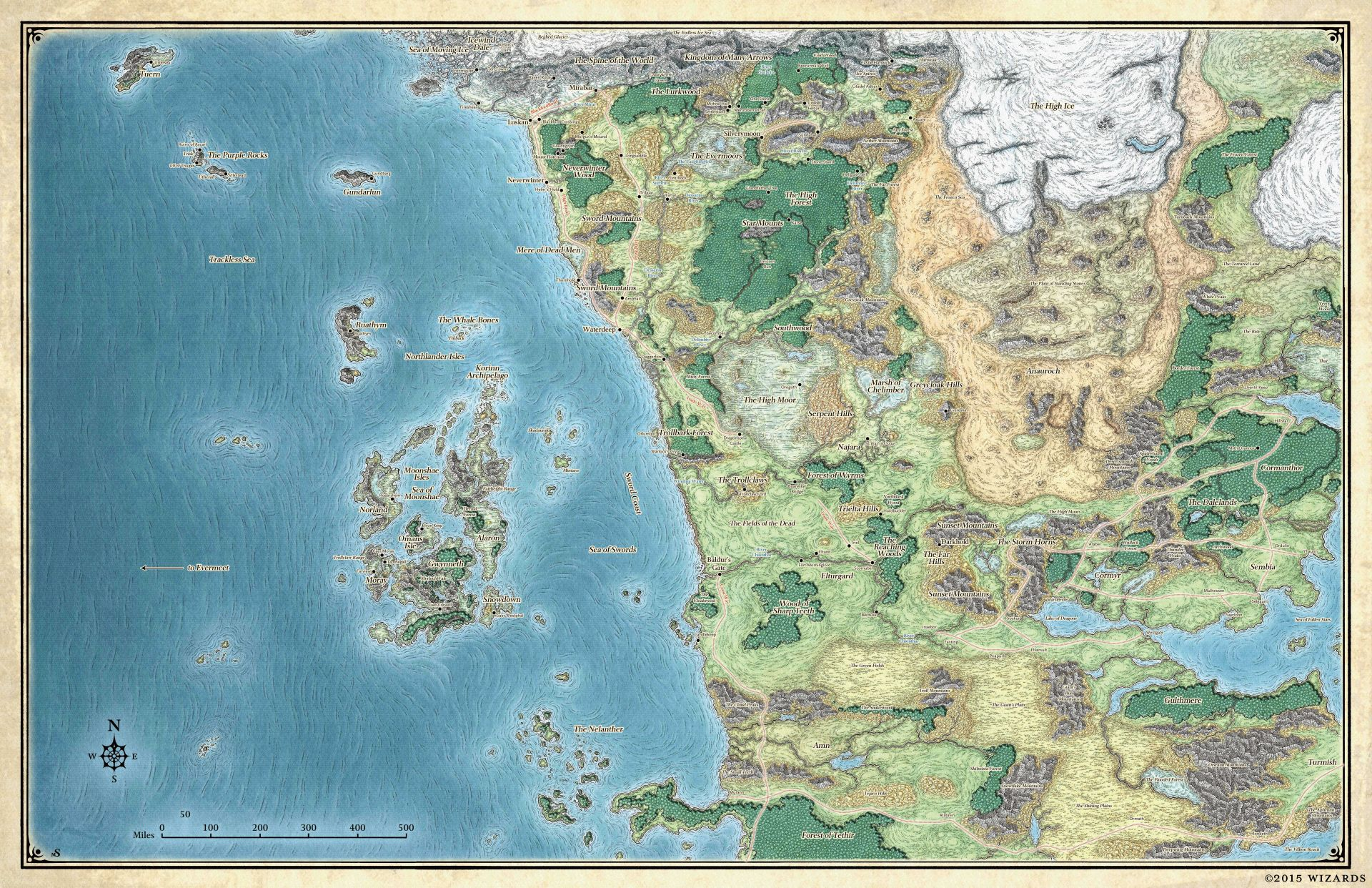 The Forgotten Realms circa 2015. (Image credit: Wizards of the Coast.)