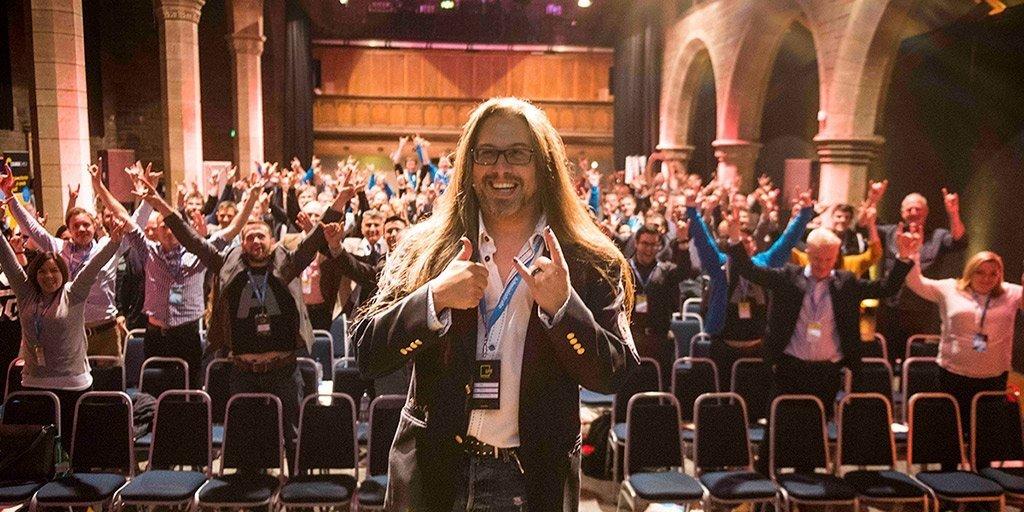 John Romero speaks at a conference. (Photo courtesy of John Romero.)