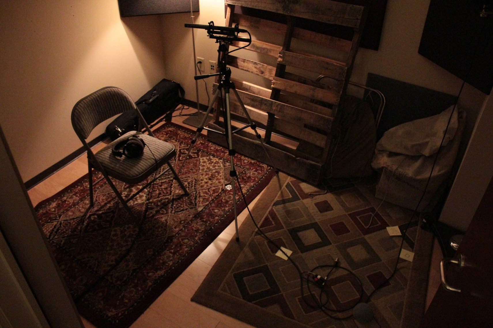 Justin Bell's audio booth at Obsidian, circa development of Pillars of Eternity. (Photo credit: Obsidian Entertainment.)