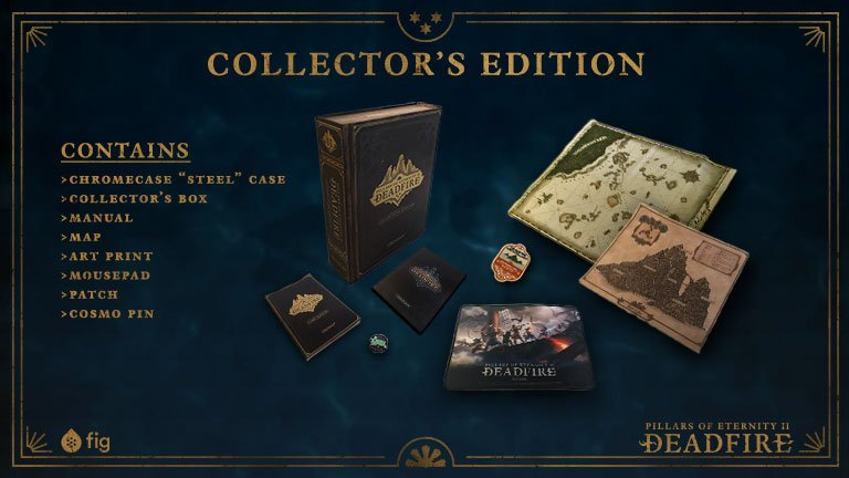 Contents of Pillars of Eternity 2: Deadfire's collector's edition box.