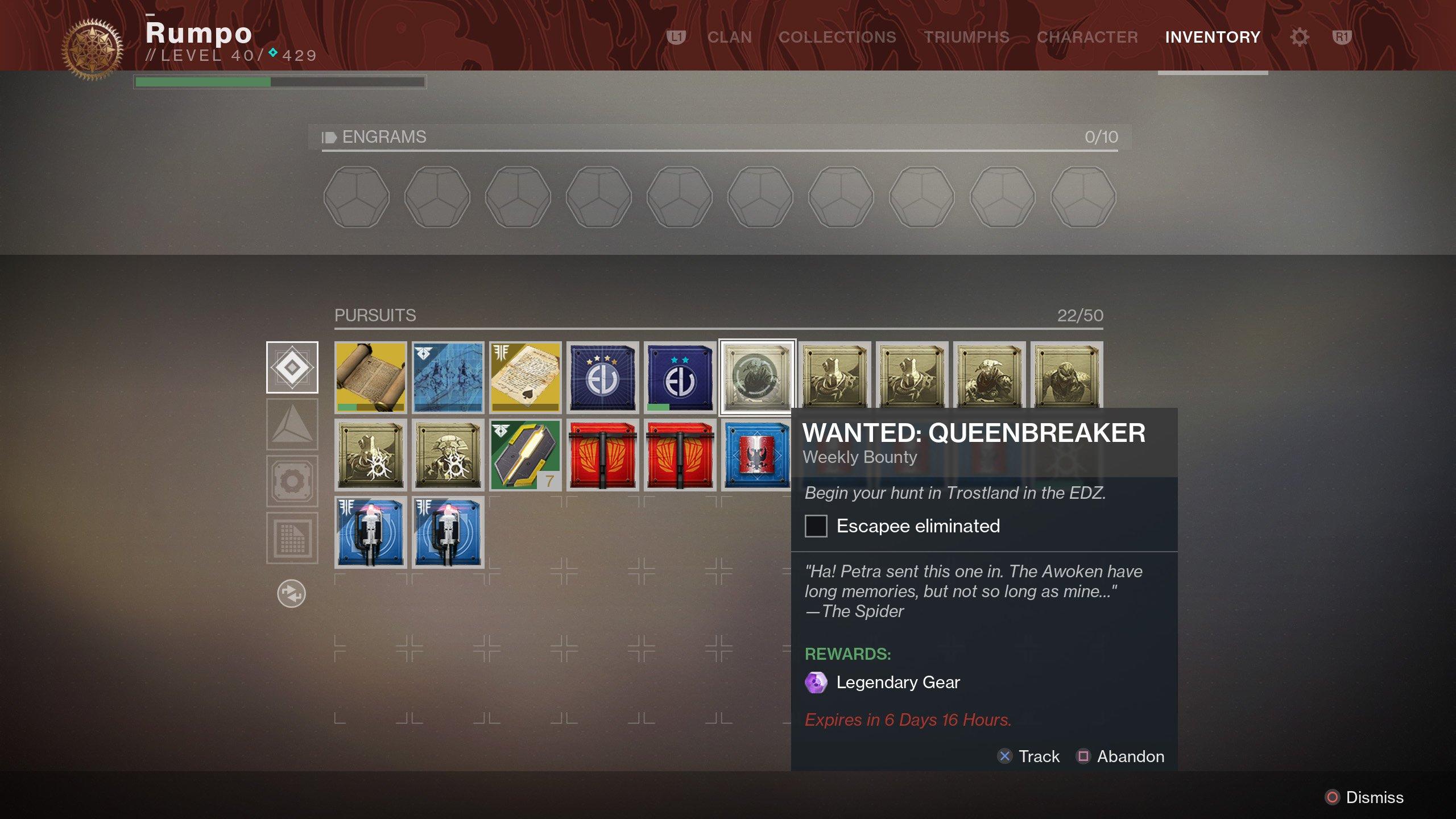 Wanted Queenbreaker Bounty Destiny 2