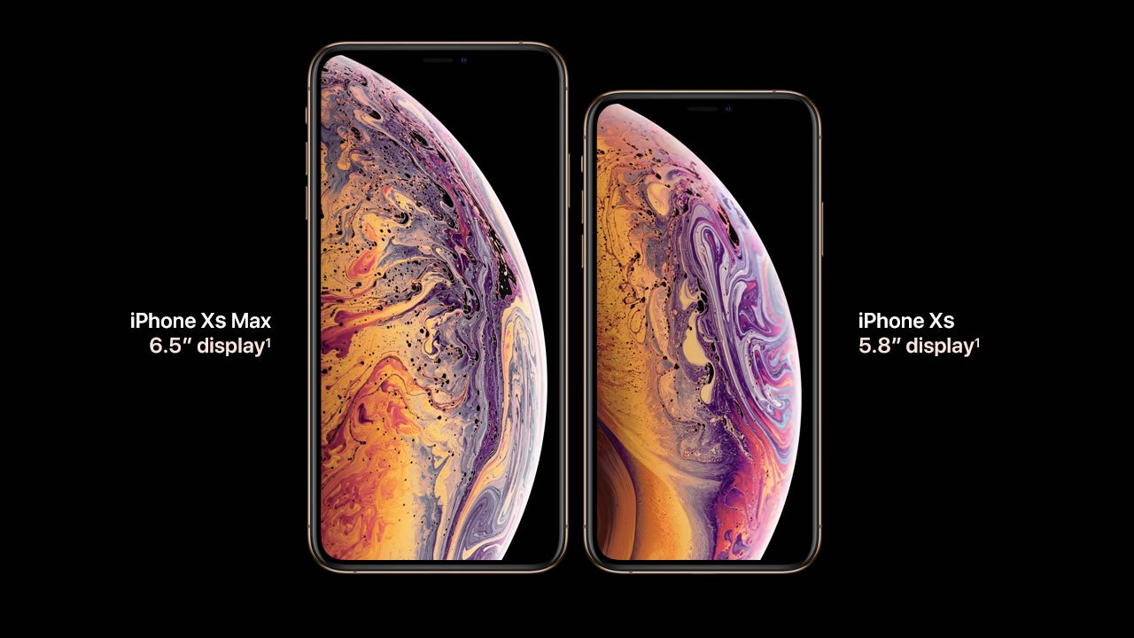 The iPhone XS Max and XS side-by-side.