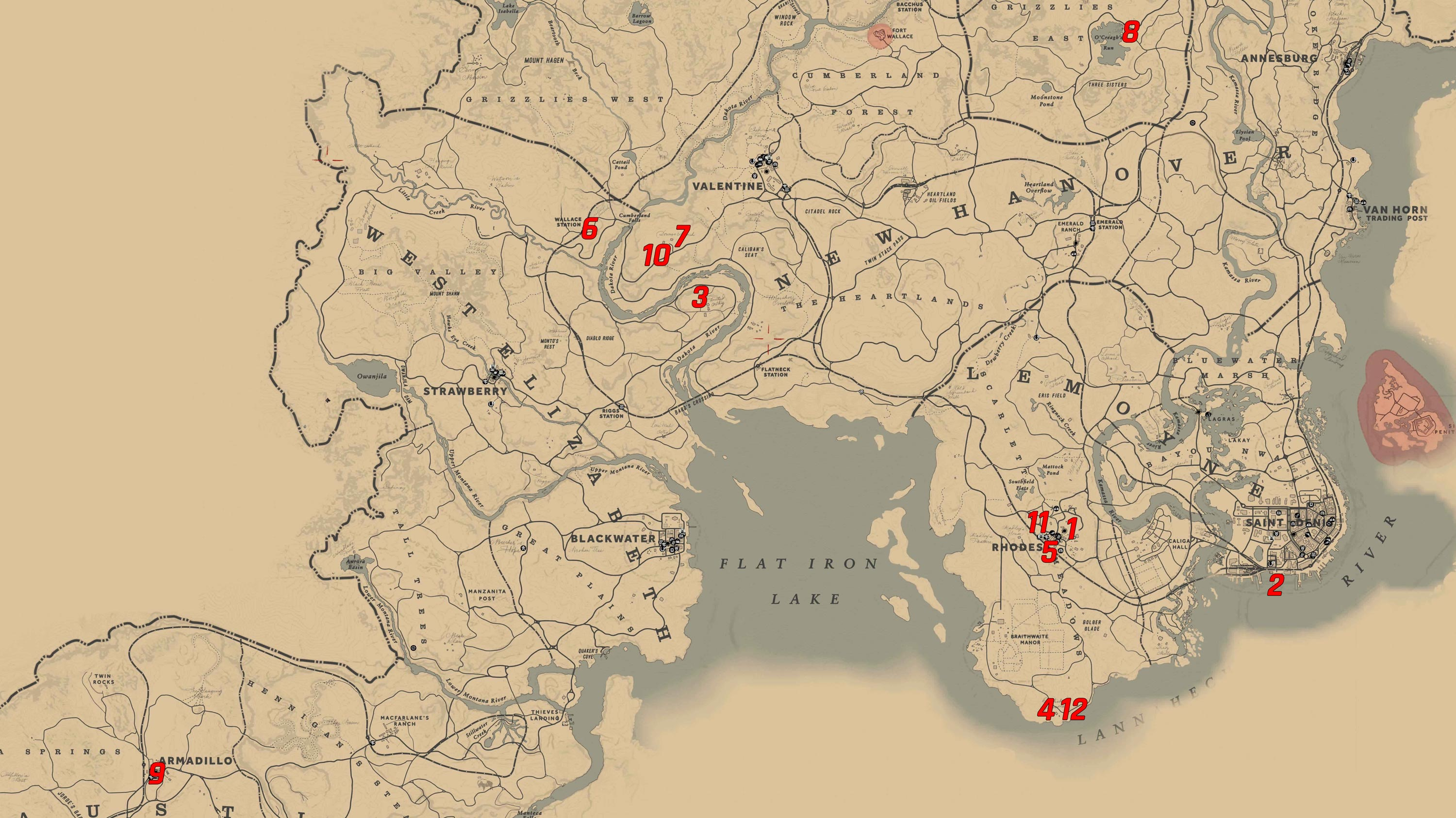 Red Dead Redemption Us Map.All Breeds Of Horses Cigarette Card Locations In Red Dead Redemption
