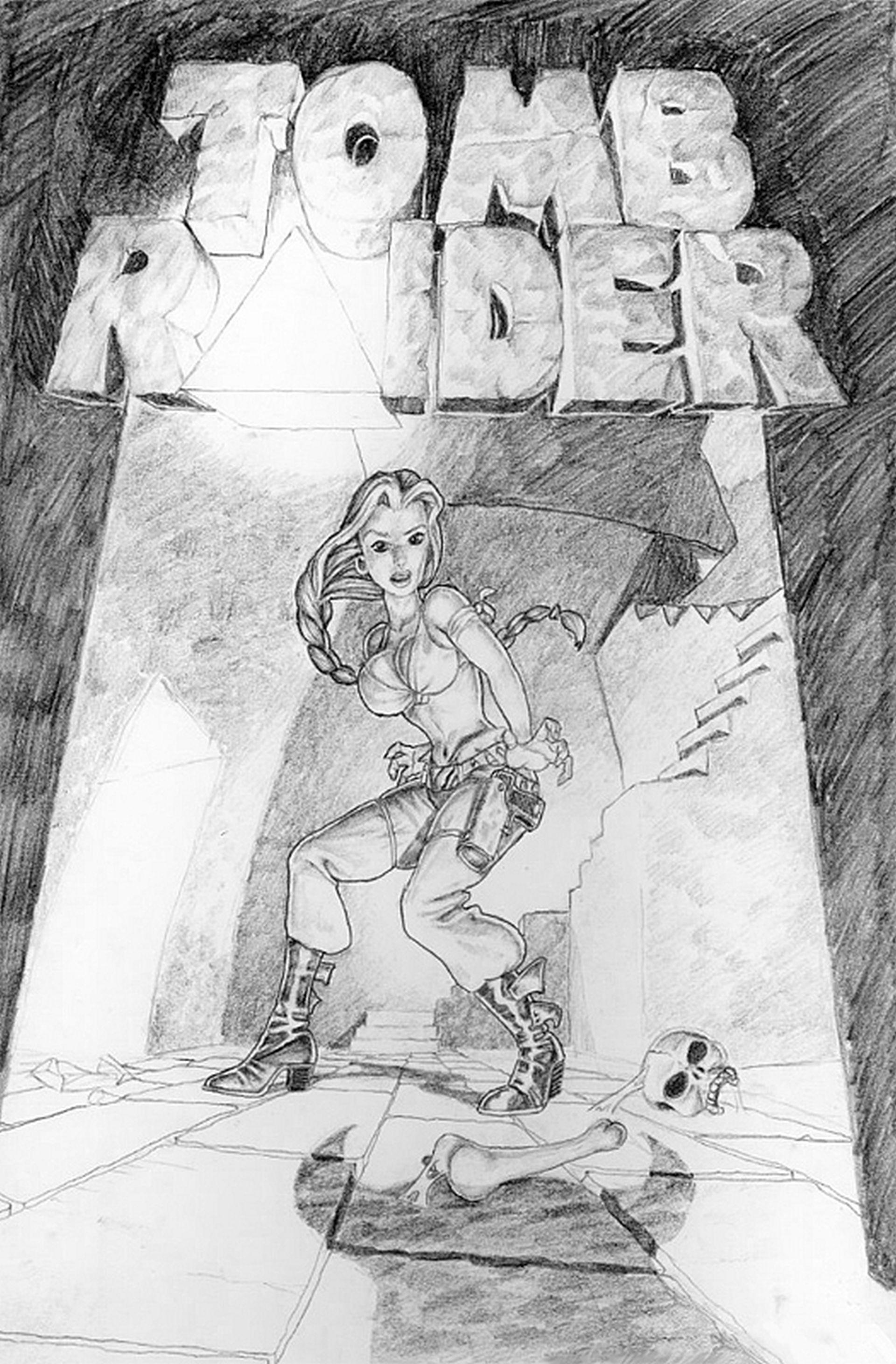 "Concept art for the original Tomb Raider starring ""Laura Cruz,"" later renamed Lara Croft (image courtesy of Crystal Dynamics)."
