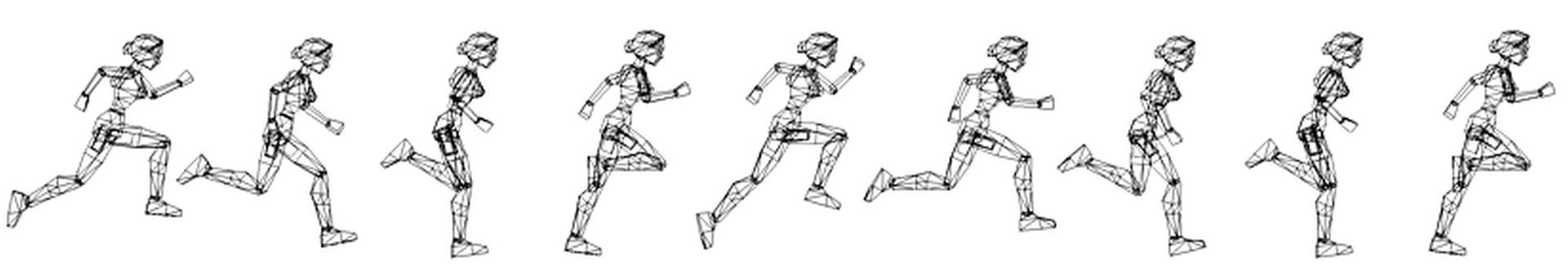 Renders of Lara's smooth running animation (image courtesy of Crystal Dynamics).