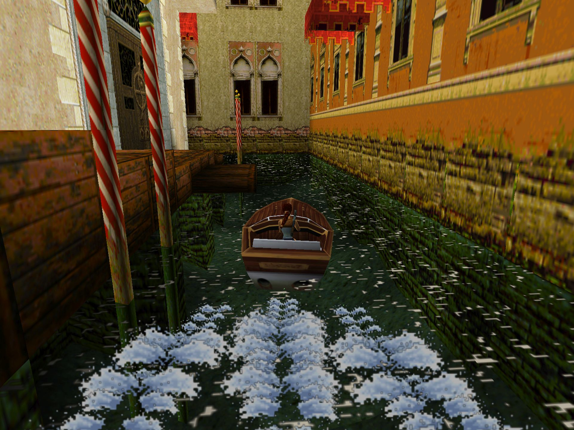Tomb Raider II's environments were more open, and could be explored using vehicles (image courtesy of Crystal Dynamics).