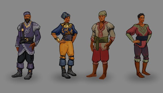 Clothing concepts for the Principi in Deadfire.