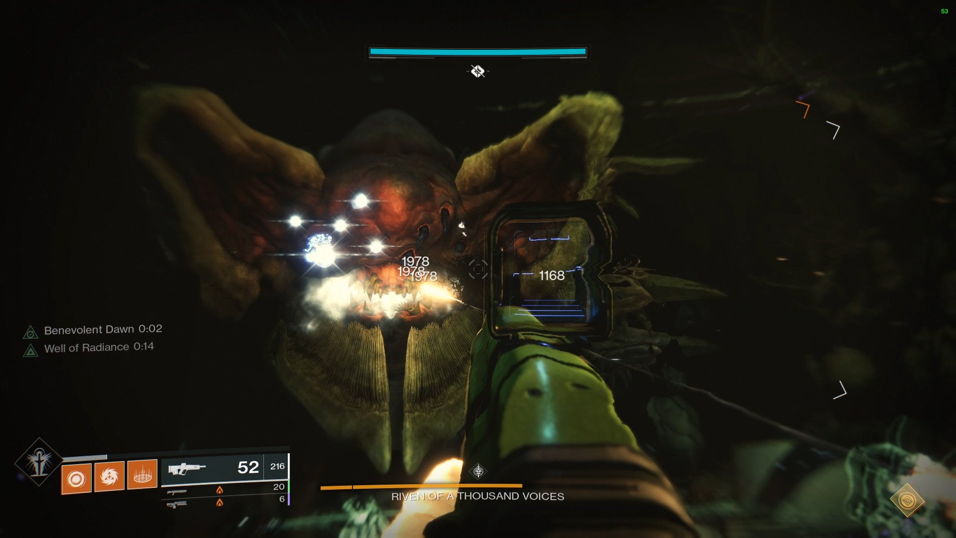 Players must remember the eye they chose and then destroy it after dealing damage to Taken orb in Riven's mouth.