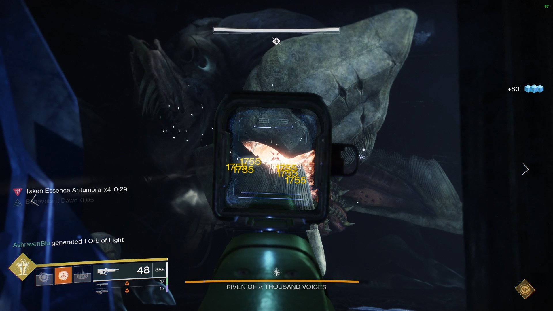 Riven will enter one room, players must deal damage to her tentacles or her mouth, depending on her attack.