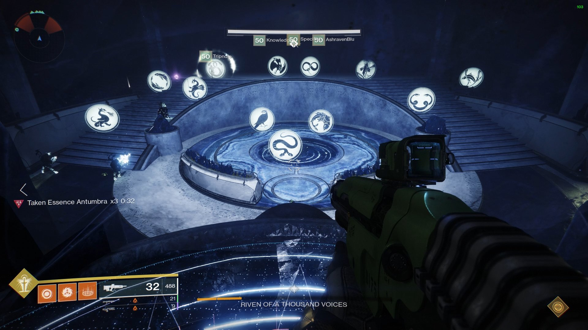 The player behind the glass will need to direct the player with the Taken Essence to the correct symbol to be cleansed.