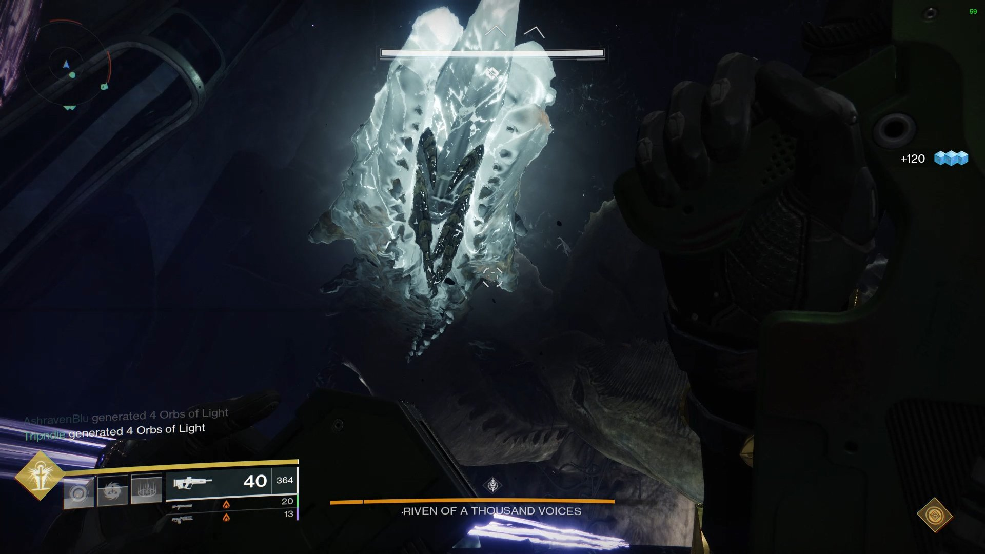 At the top level, players will need to either shoot Riven's mouth or bait out an tentacle attack and damage it to make her stagger, revealing two glowing eyes.