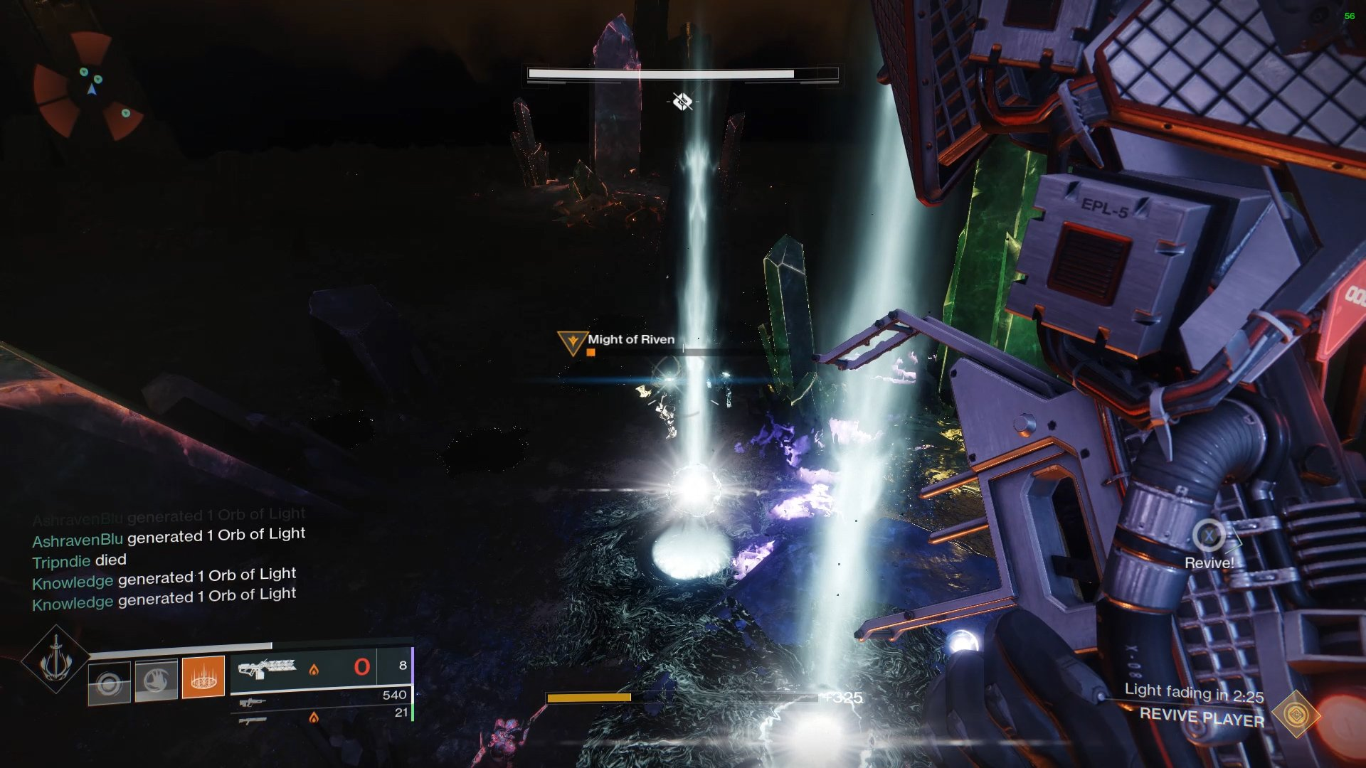 Players my synchronise the collection of the beams of light to extend the timer for the player carrying Riven's heart.
