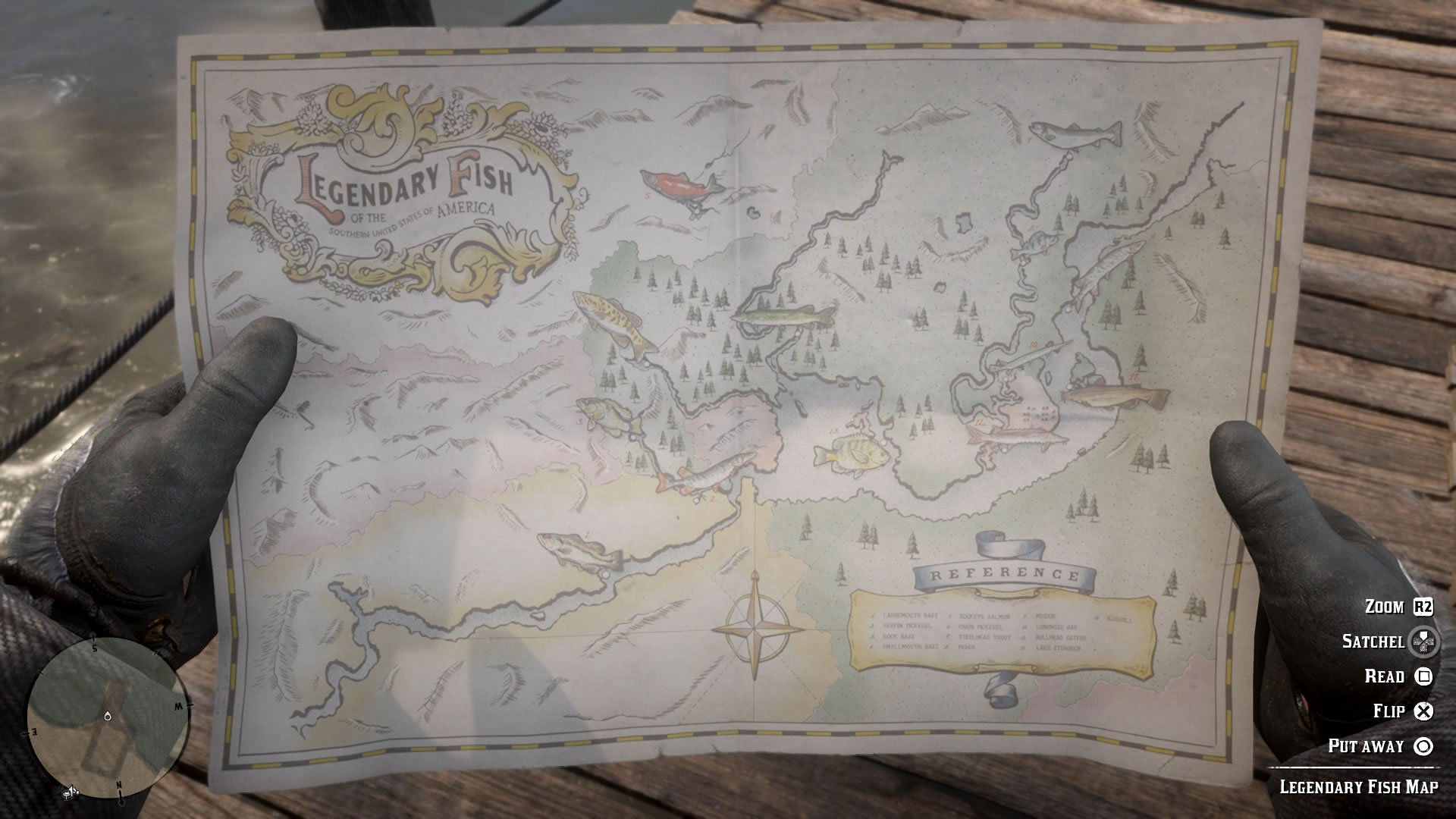Red Dead Redemption 2's Legendary Fish map
