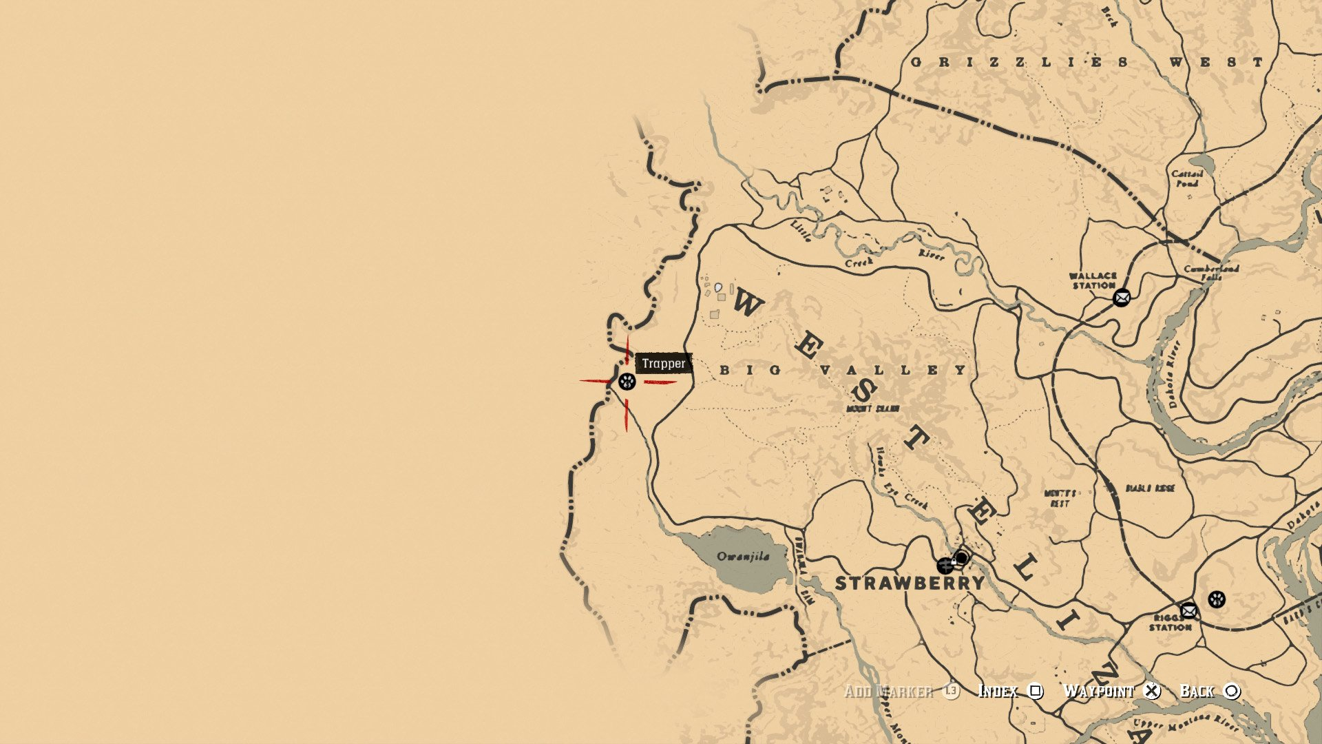 Southwest of Pronghorn Ranch, along the western border of West Elizabeth, is a Trapper.