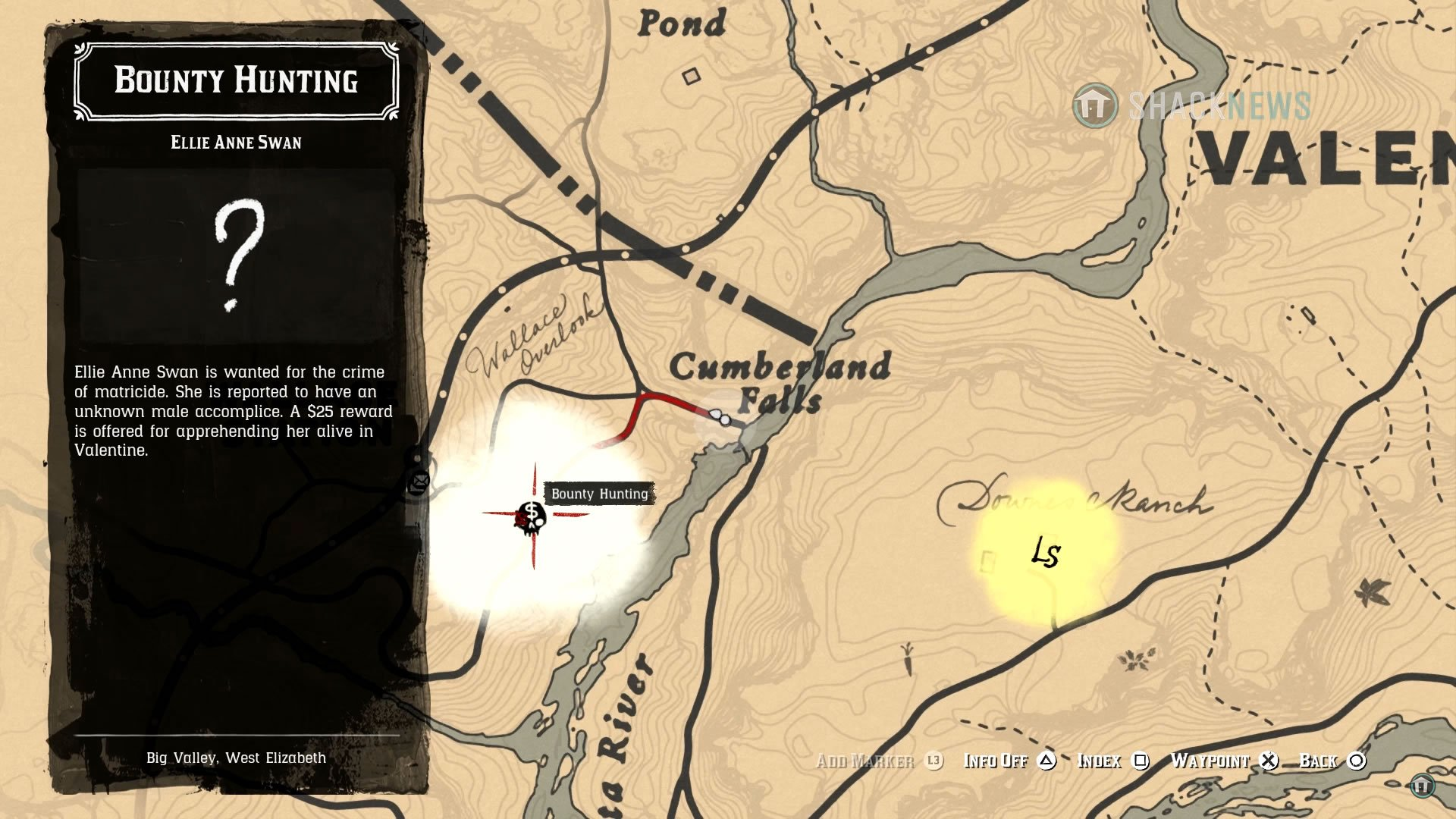 The location of Allie Anne Swan in Red Dead Redemption 2.