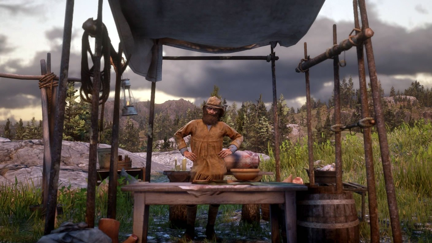 The Trapper will set you up with new clothing and items.