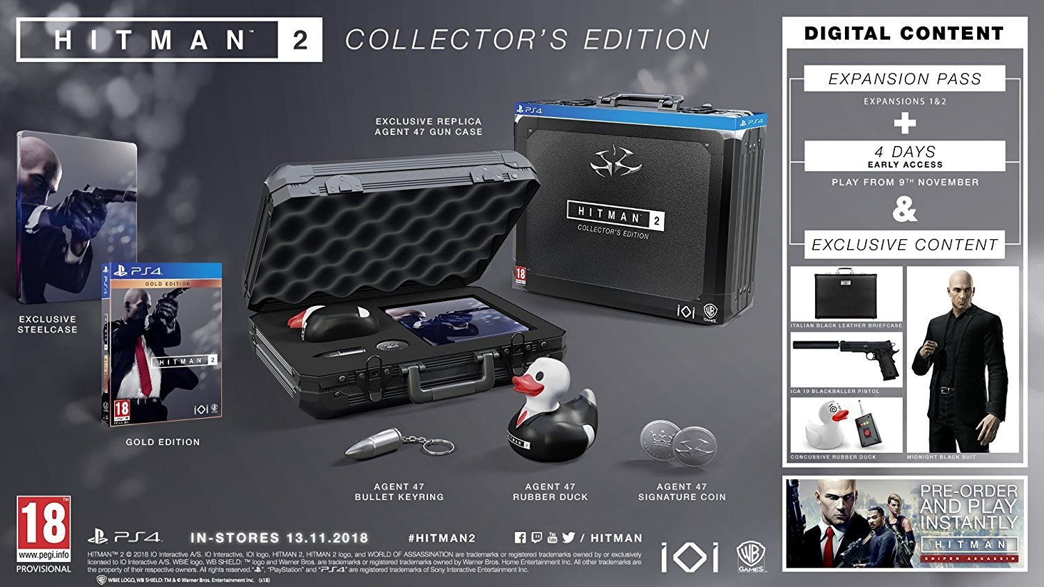 The Hitman 2 Collector's Edition packaging and bonuses.