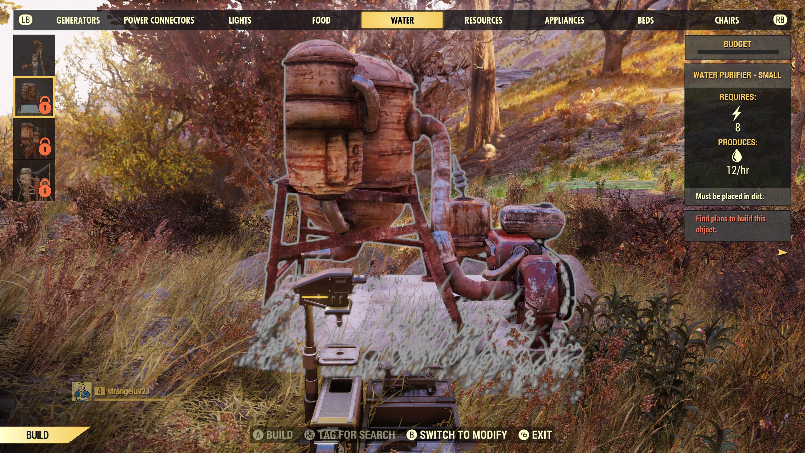 Craft or Build Water Purifier Fallout 76