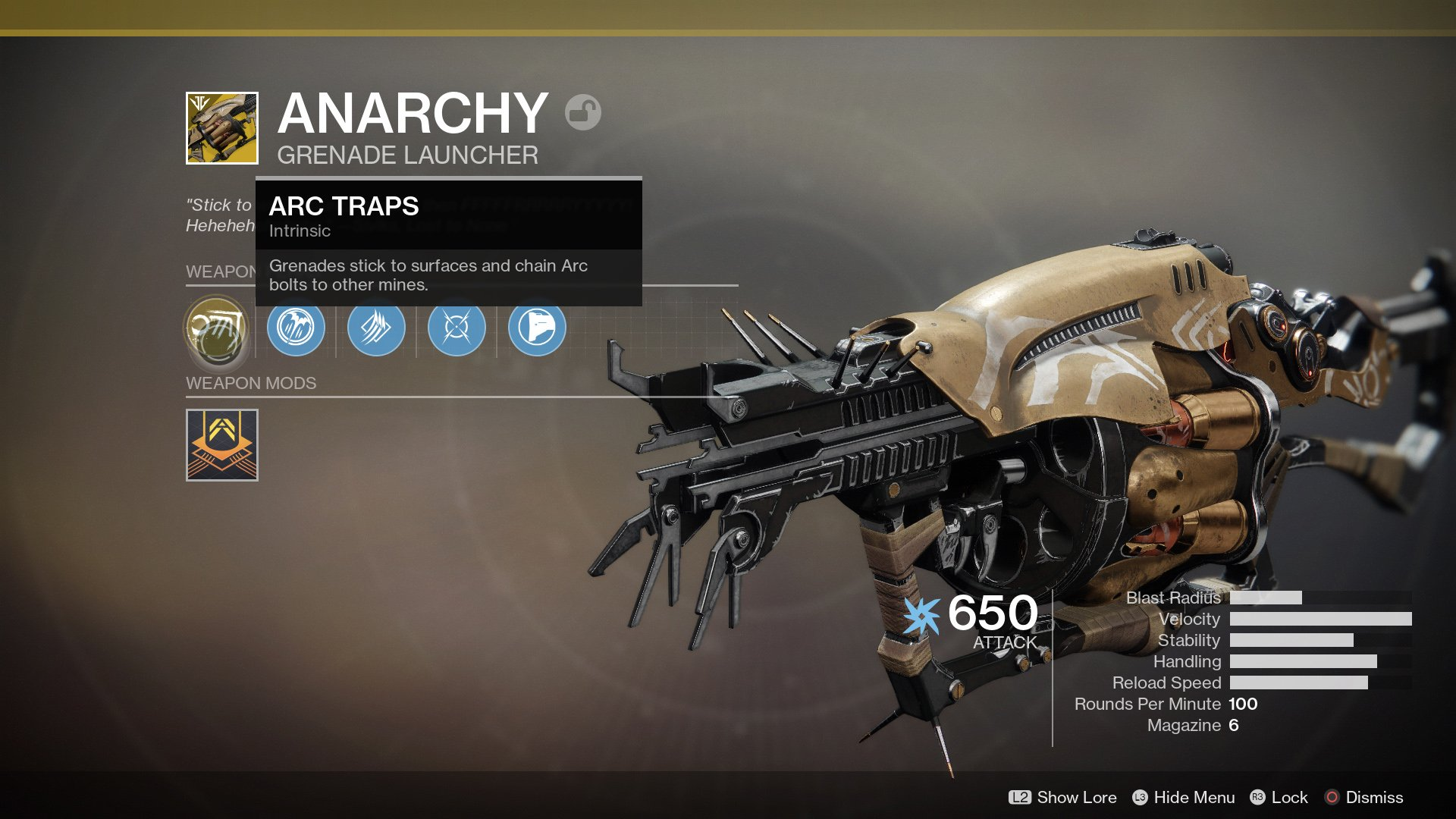 Destiny 2 Anarchy Exotic grenade launcher