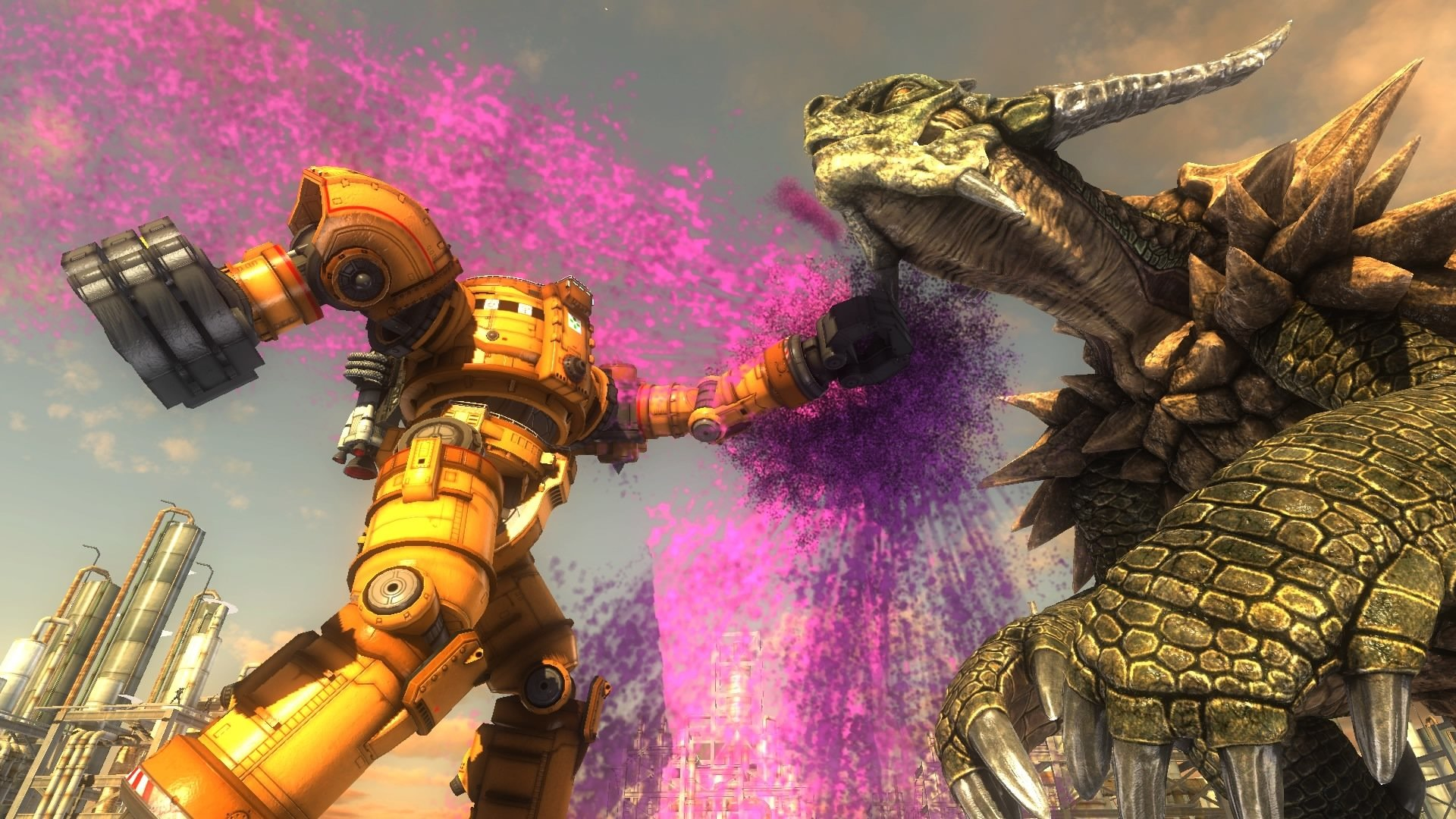 edf 5 mech fighting a dragon