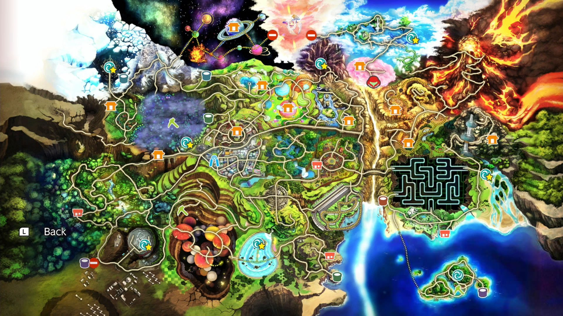Super Smash Bros Ultimate adventure mode map - World of Light