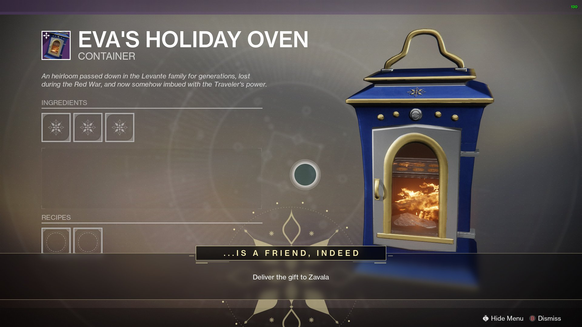 Destiny 2 The Dawning oven recipes