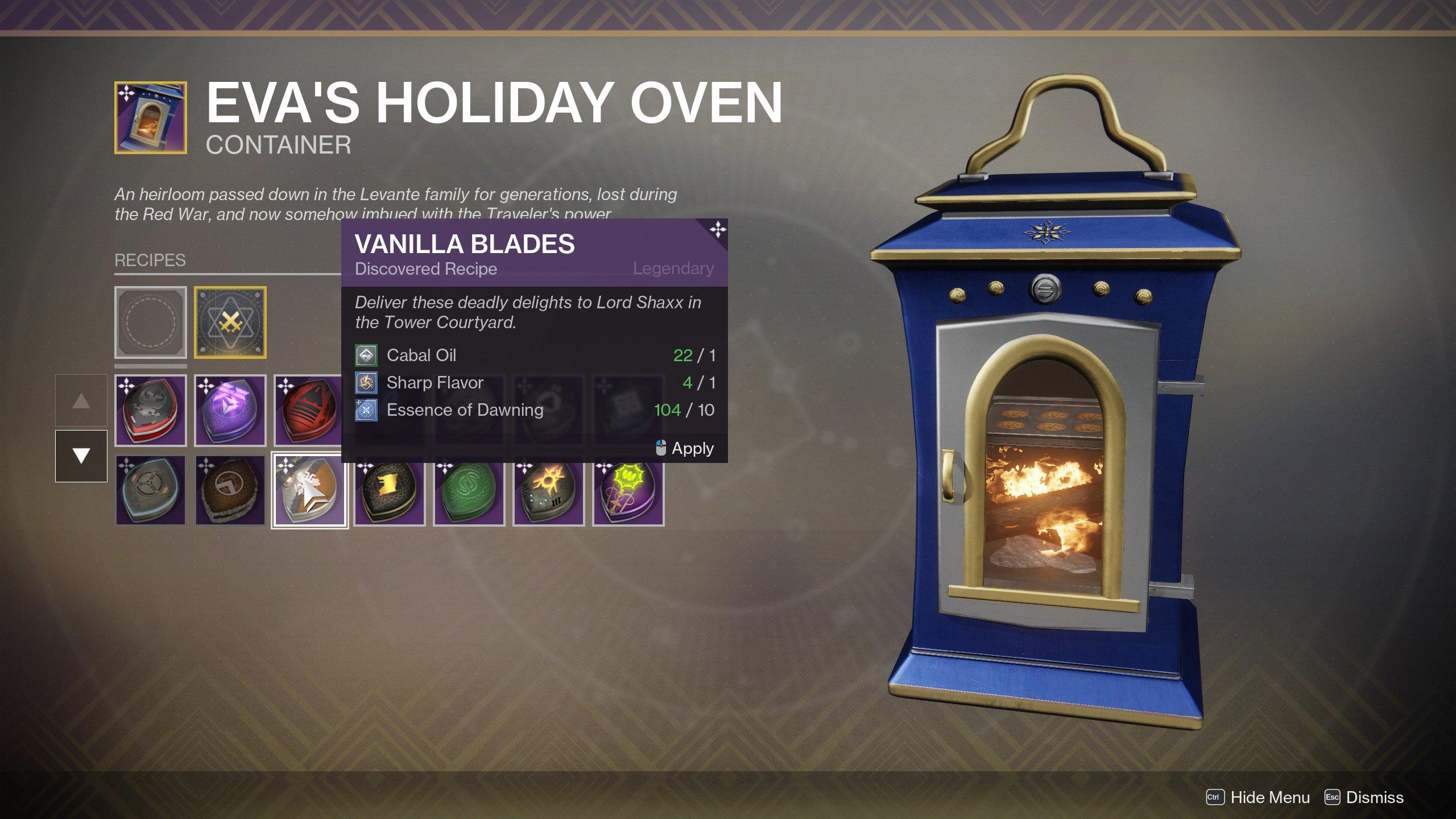 Vanilla Blades Recipe Destiny 2